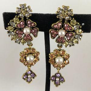 Anthropologie Crystal & Pearls Gold Drop Earrings
